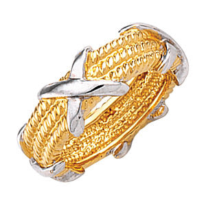 Unique 14K Yellow & White Criss-Cross Rope Band by Parker Edmond - ParkerEdmond