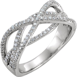 Let it Sparkle Designer 14K White Diamond Criss-Cross 1/2 CTW   Ring by Parker Edmond - ParkerEdmond