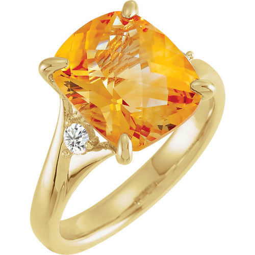 Stunning 14K Yellow Citrine & 1/6 CTW Diamond Ring by Parker Edmond - ParkerEdmond