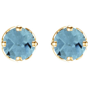 Light Blue Aquamarine Earrings Set in Yellow or White Gold by Parker Edmond - ParkerEdmond