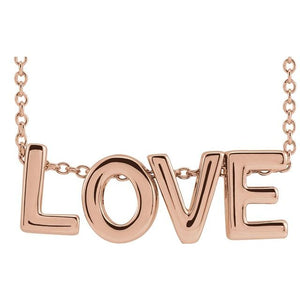 "Wear the LOVE - 14K Rose Love 16-18"" Necklace"