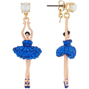 LUXURY PAS DE DEUX BLUE RHINESTONE BALLERINA STUD EARRINGS BY PARKER EDMOND - ParkerEdmond