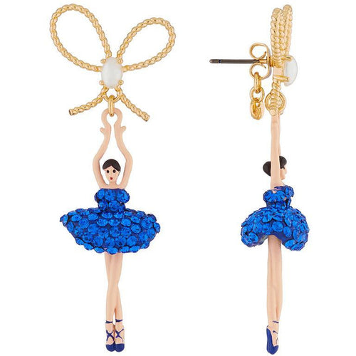 LUXURY PAS DE DEUX BLUE RHINESTONE BALLERINA AND PEARL STUD EARRINGS by Parker Edmond - ParkerEdmond