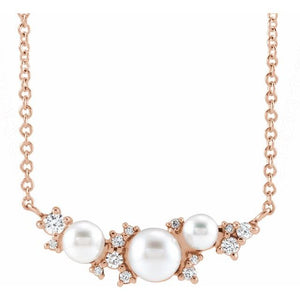 Lovely Akoya Cultured Pearl & .08 CTW Diamond  Necklace