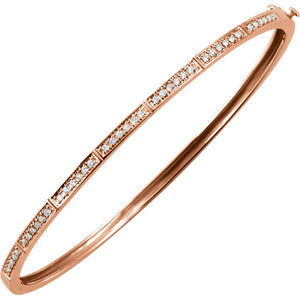 Delicate 14k Gold 1/3 CTW Diamond Bangle Bracelet - ParkerEdmond