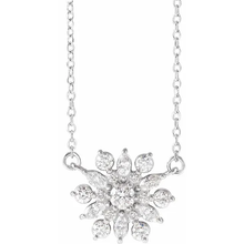 Load image into Gallery viewer, Diamond Vintage-Inspired Snowflake Necklace