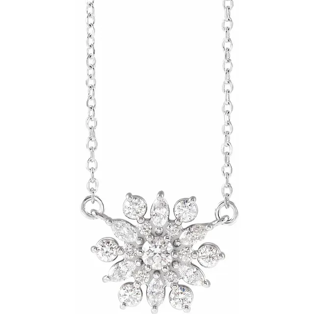 Diamond Vintage-Inspired Snowflake Necklace