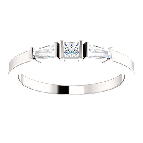 Minimalist Diamond Anniversary Band in 14k White Gold by Parker Edmond - ParkerEdmond