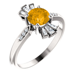 Exquisite Citrine & 1/6 CTW Diamond Ring by Parker Edmond - ParkerEdmond