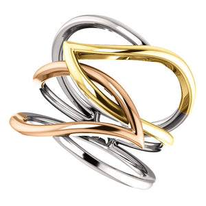Uniquely Designed 14K White , Yellow and Rose Criss-Cross Ring by Parker Edmond - ParkerEdmond