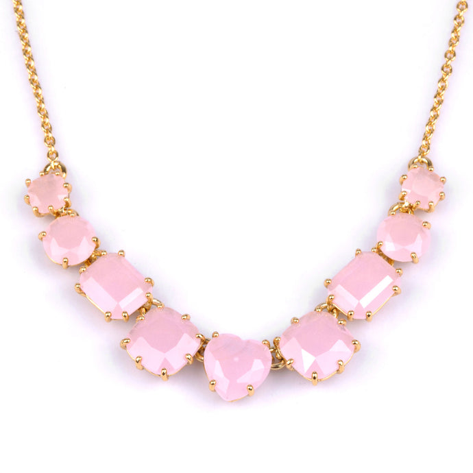 Les Néréides - PINK LA DIAMANTINE THIN NECKLACE WITH 9 SMALL STONES by Parker Edmond - ParkerEdmond