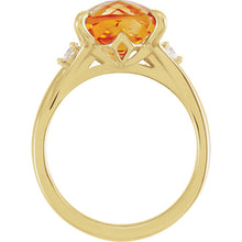 Load image into Gallery viewer, Stunning 14K Yellow Citrine & 1/6 CTW Diamond Ring by Parker Edmond - ParkerEdmond