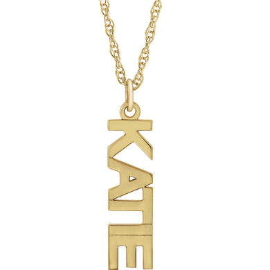 Vertical Nameplates are Here!  Gold  & Silver Block Nameplate Necklace by Parker Edmond - ParkerEdmond