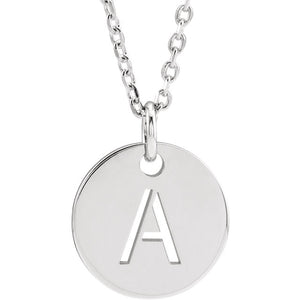 "Latest Craze! Sterling Silver  Initial  Disc 16-18"" Necklace by Parker Edmond - ParkerEdmond"