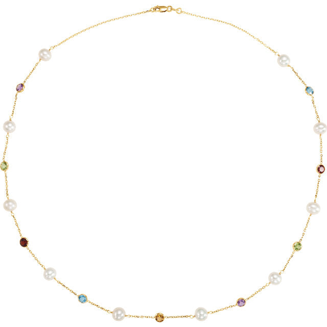 Trendy Freshwater Cultured Pearl & Multi-Gemstone Necklace by Parker Edmond - ParkerEdmond