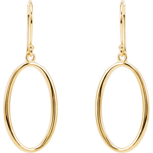 Trendy 14k Gold Oval Dangle Earrings by Parker Edmond - ParkerEdmond
