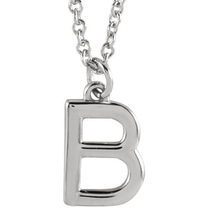Sterling Silver Initial Dangle Necklace  18""