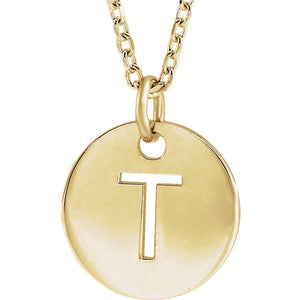 Trendy 14k Gold Initial  Disc  by Parker Edmond - ParkerEdmond