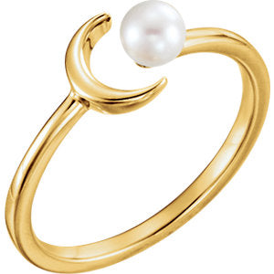 White Freshwater Pearl Crescent Ring by Parker Edmond - ParkerEdmond