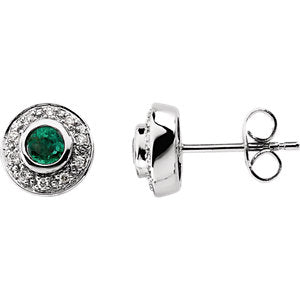 Elegant Genuine Emerald & 1/10 CTW Diamond Earrings by Parker Edmond - ParkerEdmond