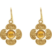 Load image into Gallery viewer, Finely Detailed -  14K Yellow Citrine Maltese Cross Earrings by Parker Edmond - ParkerEdmond