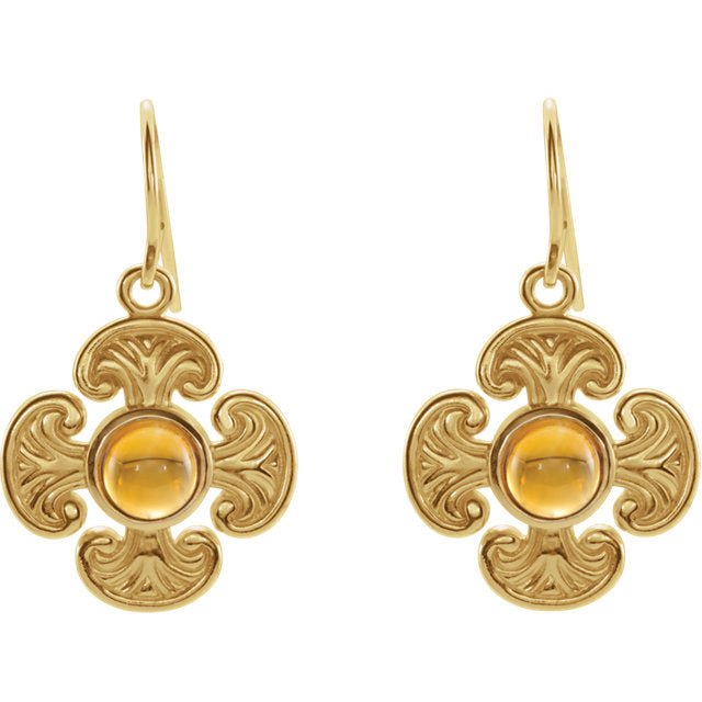 Finely Detailed -  14K Yellow Citrine Maltese Cross Earrings by Parker Edmond - ParkerEdmond