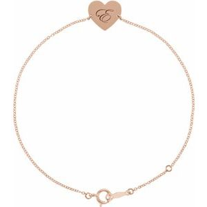 Say I Love You with a Custom Engraved Heart Bracelet in 14k Gold and Sterling