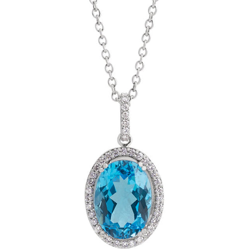 Swiss Blue Topaz & 3/8 CTW Diamond Halo-Style Necklace by Parker Edmond - ParkerEdmond