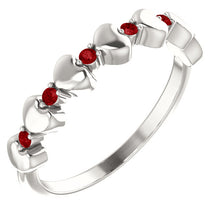 Load image into Gallery viewer, I love You! Genuine Ruby Stackable Heart Ring