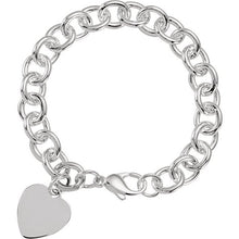 "Load image into Gallery viewer, Engrave a Special Note on this Sterling Silver Heart Charm Cable 7.5"" Bracelet"