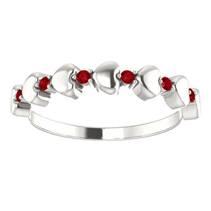 I love You! Genuine Ruby Stackable Heart Ring