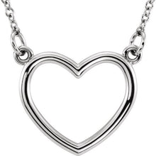 "Load image into Gallery viewer, Say Happy Valentines Day with a Sterling Silver 16"" Heart Necklace"