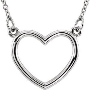 "Say Happy Valentines Day with a Sterling Silver 16"" Heart Necklace"