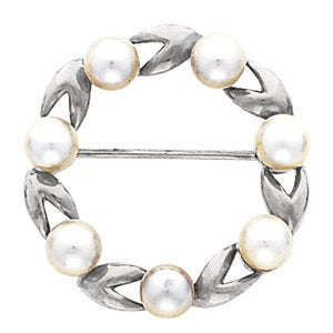 Limited Circle Pearl Brooch 14K Yellow & White Gold with 7 Set Pearls by Parker Edmond - ParkerEdmond