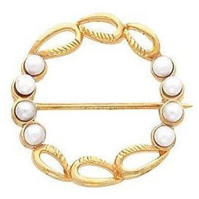 Lovely 14K Yellow Gold Circle Pearl Brooch by Parker Edmond - ParkerEdmond