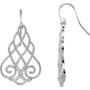 Filigree Scroll Earrings with set 1/4 CTW Diamonds by Parker Edmond - ParkerEdmond