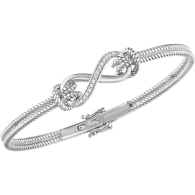 New Infinity 14K White Gold 1/8 CT  Diamond Bangle 7.5