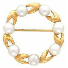 Load image into Gallery viewer, Limited Circle Pearl Brooch 14K Yellow & White Gold with 7 Set Pearls by Parker Edmond - ParkerEdmond