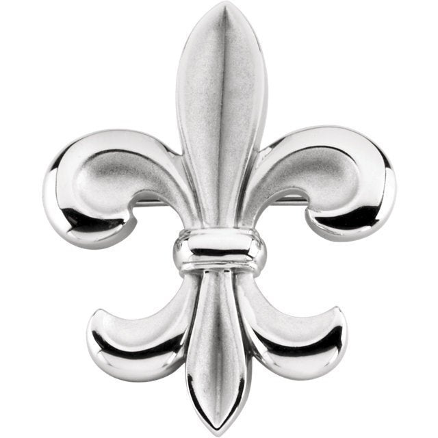 Remarkable 14K White Fleur-de-lis Brooch by Parker Edmond - ParkerEdmond