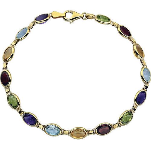 Polished Multi-Gemstone Bracelet set in 14k Gold by Parker Edmond - ParkerEdmond