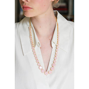 Les Néréides - LONG NECKLACE WITH ROUND STONES AND PINK OPAL CHAIN by Parker Edmond