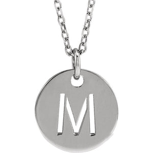 "Perfect Gift for Her! Sterling Silver  Initial  Disc 16-18"" Necklace by Parker Edmond"