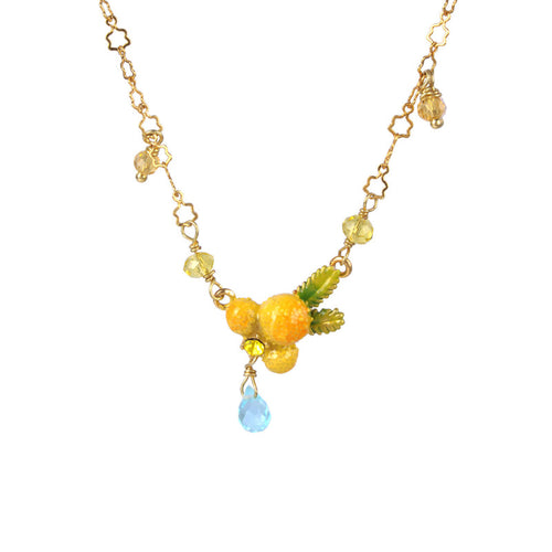 Les Néréides-MIMOSA FLOWER AND LITTLE PEARLS PENDANT NECKLACE BY PARKER EDMOND - ParkerEdmond