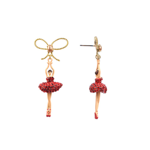 Youth Pas de Deux Stud Ballerina Earring in Vintage Rose and Silver Crystal