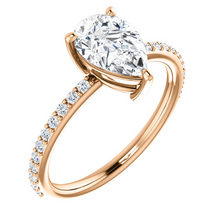 Load image into Gallery viewer, Stunning 14K Gold Pear Shape Forever One™ Moissanite & 1/5 CTW Diamond Ring