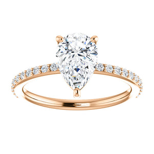 Stunning 14K Gold Pear Shape Forever One™ Moissanite & 1/5 CTW Diamond Ring