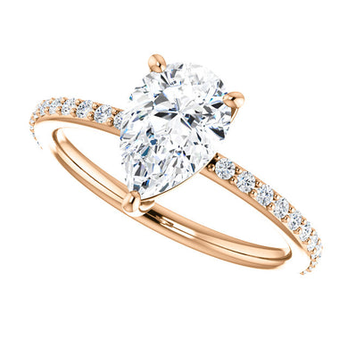 Exclusive Mark Down 40% Off Stunning 14K Gold Pear Shape Forever One™ Moissanite & 1/5 CTW Diamond Ring
