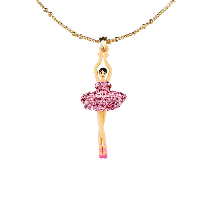 PENDANT NECKLACE WITH DE LUXE PINK CRYSTAL TOE-DANCING BALLERINA BY PARKER EDMOND - ParkerEdmond