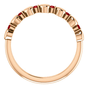 I love You! Genuine Ruby Stackable Heart Ring in 14k Rose Gold
