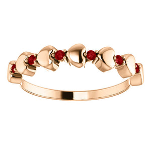 Genuine Ruby Stackable Heart Ring in 14k Rose Gold